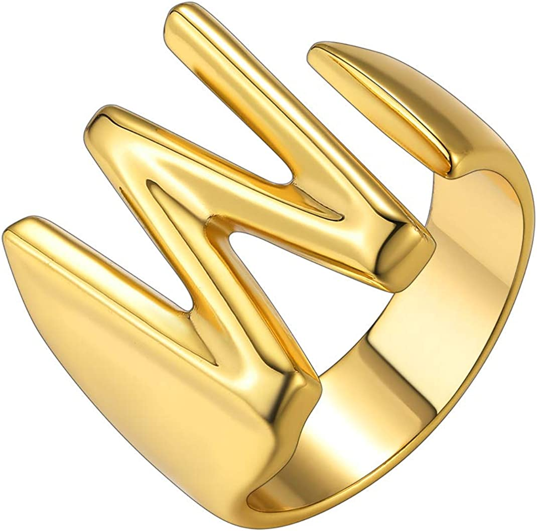 GoldChic Jewelry 18K Gold Plated Initial W Rings Adjustable Letter Open Ring for Women Statement Rings with Gift Box