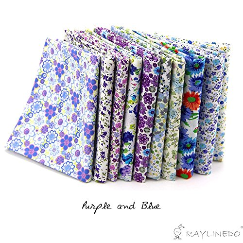 """RayLineDo 10 Pcs Different Pattern Multi Color 100% Cotton Poplin Fabric Fat Quarter Bundle 18"""" x 22"""" Patchwork Quilting Fabric Blue and Purple Series"""