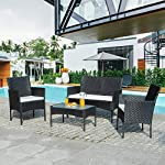 Walsunny 4 Pieces Outdoor Patio Furniture Sets Rattan Chair Wicker Set,Outdoor Indoor Use Backyard Porch Garden Poolside Balcony Furniture(Black) 14 CHARMING CONVERSATION SET – Great for small spaces or creating a cozy nook, this outdoor wicker furniture set comes with two chairs, a love-seat, and a tempered glass top table. GORGEOUS GLASS TABLE TOP – Each perfectly-sized drink table features a tempered glass top that's equally gorgeous and durable for long-lasting outdoor use. WEATHER-RESISTANT RESIN – Designed specifically for indoor or outdoor use, this wicker conversation set is strong enough to withstand the rain, sun, and wind.