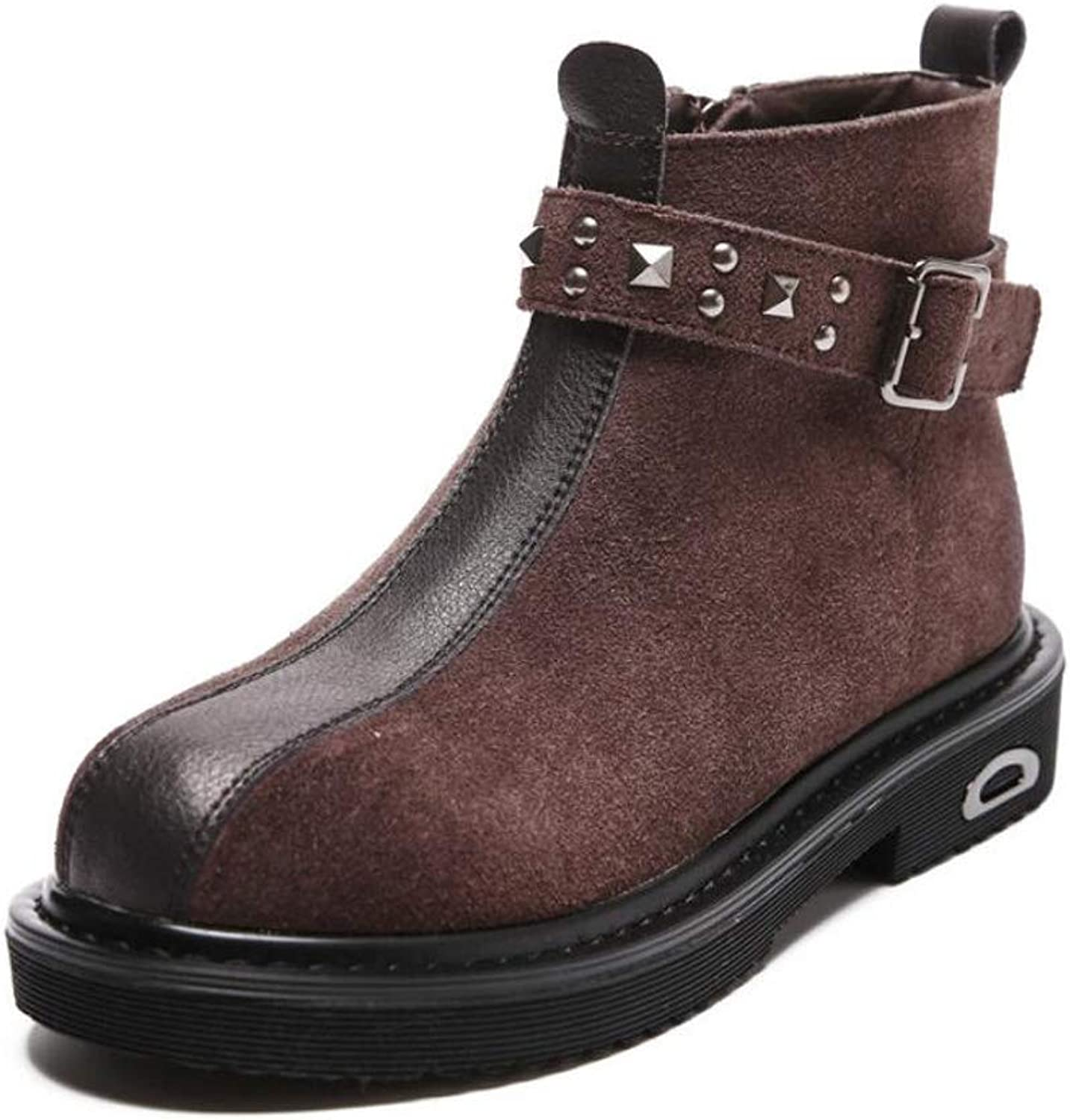 DANDANJIE Women's Martin Boots Autumn and Winter Retro Boots Casual shoes