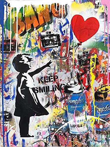 Orlco Art Graffiti Art Canvas Banksy Graffiti Schilderij litte Girl Art Schilderij Prints Straat Urben Schilderij Poster Keep Smiling Art Kleurrijke achtergrond voor decoratie Home 48