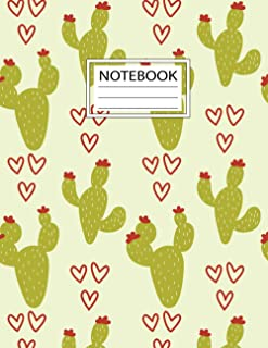 Notebook: Pretty Watercolor Cactus Workbook for Girls Kids Teens Students for Back to School and Home College Writing Notes