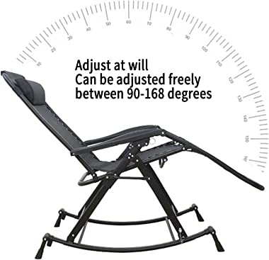 Foldable Rocking Chair,Outdoor Indoor Metal Rocker Chairs, Home Garden Patio Yard Reclining Sun Lounger Adjustable from 90°-1