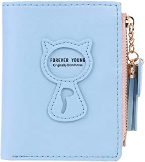 InnErsetting Cute Women Bifold Purse Cat Tassel Decor Wallet Card Holder for Adult Carry-on Ornaments and Collecting Light Blue