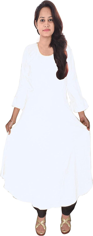 Lakkar Haveli White Color Long Dress Indian Women's Cotton Tunic Wedding Wear Casual Frock Suit Plus Size