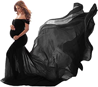COSYOU Maternity Dress Photo Dress Off Shoulder Cotton Tops with Long Chiffon Flowy Train Maxi Dress for Maternity Shoot