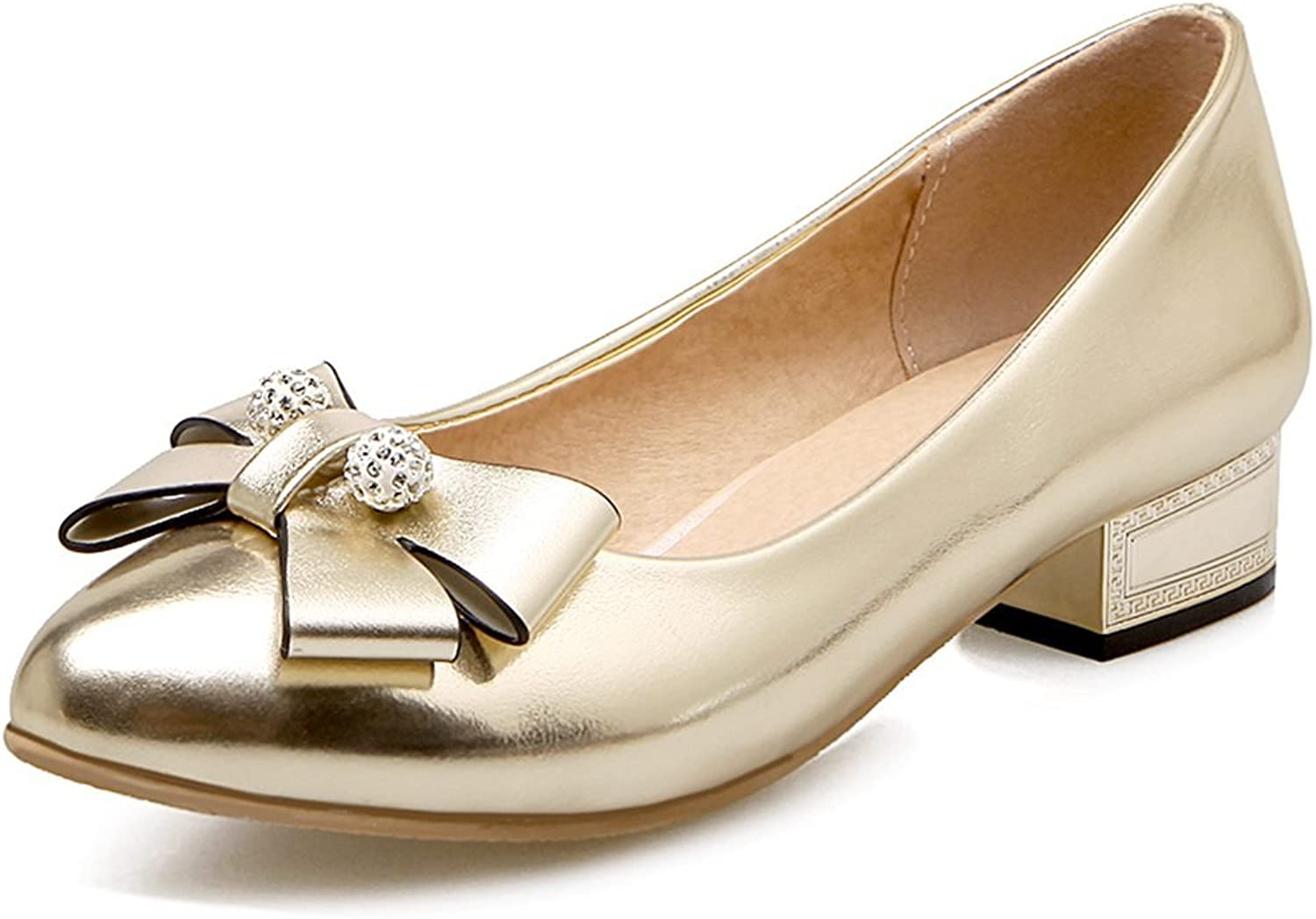 KingRover Women's Elegant Bow Pointed Toe Low Cut Slip on Chunky Heel Pumps shoes