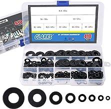 Glarks 410Pcs Metric M2 M2.5 M3 M4 M5 M6 M8 M10 Flat Washers Assortment Set Black Zinc Plated Alloy