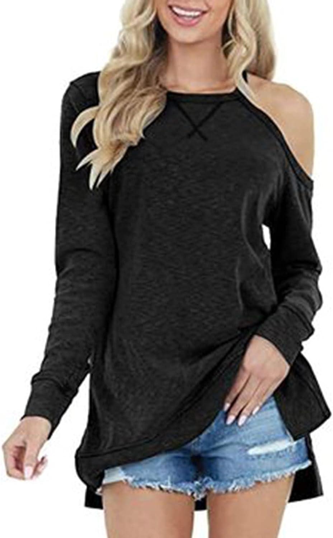 Womens Long Sleeve Tops Crewneck Cold Shoulder T-Shirt Solid Side Split Pullover Loose Elegant Blouses Sweatshirts