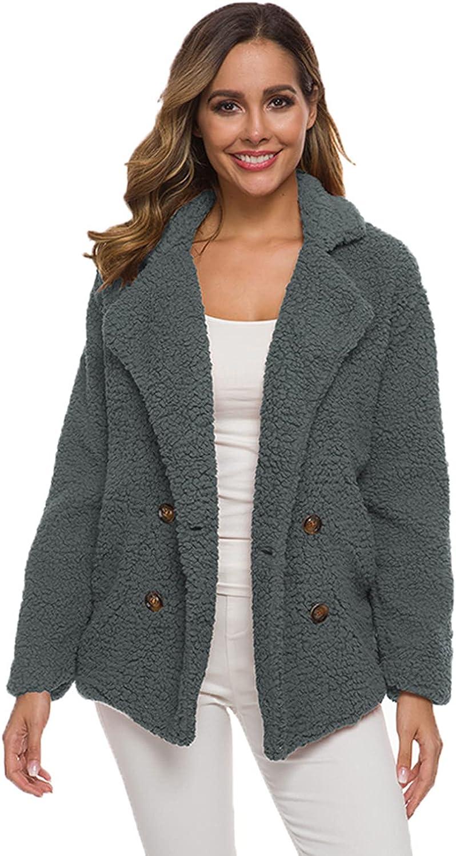 Womens Casual Lapel Pea Coat Fleece Fuzzy Faux Shearling Button Warm Autumn Winter Outwear Jacket with Pockets