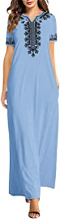 FLORHO Women's Caftan Maxi Dresses African Print Casual Kaftan Dress Short Sleeve Midi Dress