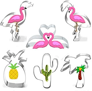 Hawaiian Cookie Cutters Set - 6 Piece - Flamingo,Pineapple,Cactus,Palm Tree Cookie Cutter Molds for Kids Birthday Party and Flamingo Theme Party Decoratons Handmade Cookie