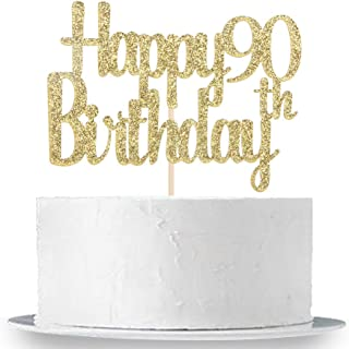 Happy 90th Birthday Cake Topper, Gold Glitter 90th Anniversary Retirement Party Cake Decorations Supplies