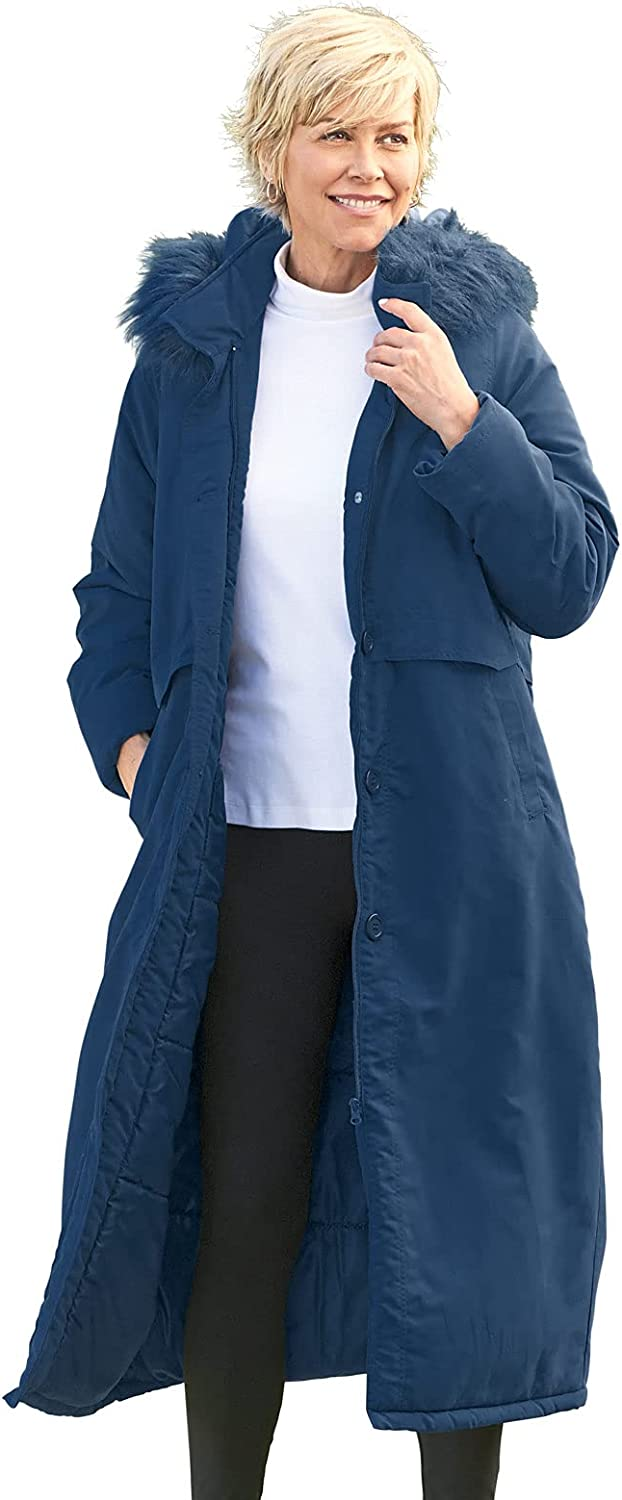 Carol Wright Gifts Long Line Fur Hooded Jacket by Easy Essentials, Color Navy, Size XXXXL, Navy, Size XXXXL