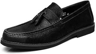 Bin Zhang Classic Dress Oxfords for Men Loafers Slip on Microfiber Leather Handmade Tassel Pointed Toe Burnished Style Anti-Slip (Color : Black, Size : 6.5 UK)