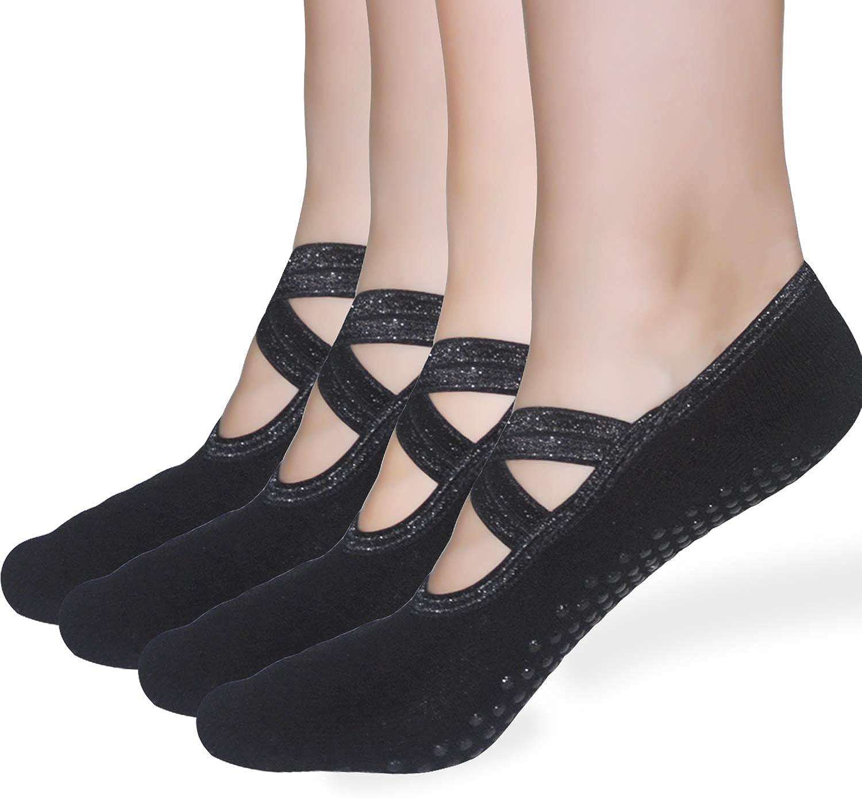 Sticky Pilates Barre Yoga Socks - Elutong 4 Pack Non Slip Skid Straps with Grips Ballet Dance Socks for Women