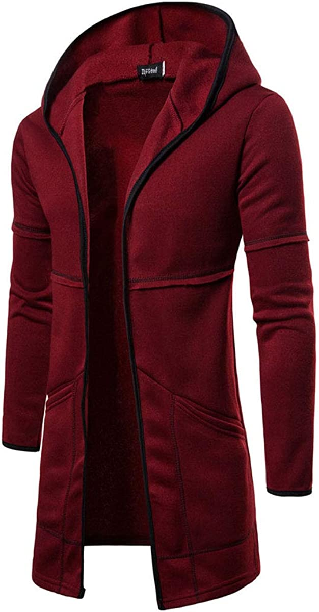 Mens Long Cardigan Zipper Lightweight Hooded Sweater Hooded Cardigan with Pockets