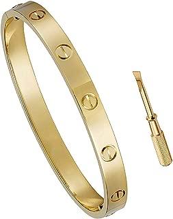 Keross Womens Fashion Buckle Bangle Titanium Steel Bracelet Love Bracelet Screw Bracelet Jewelry for Women