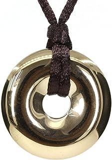 عقد بقلادة معلقة دائرية بشكل كعكة الدونات من حجر شبه كريم 30 ملم مزود بحبل مجدول قابل للتعديل من كيليني