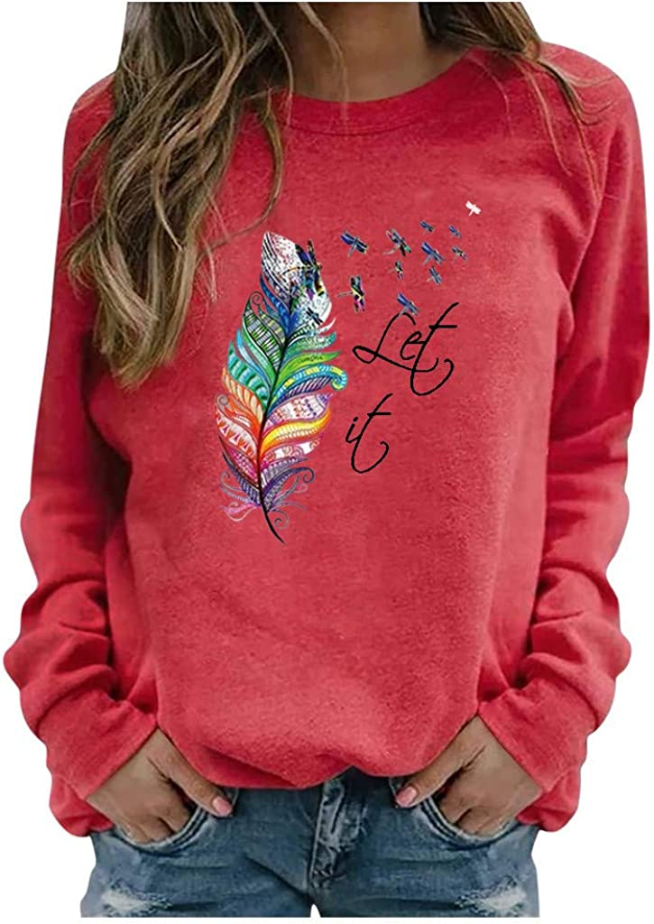 Long Sleeve Shirts for Women,Women Sweatshirts Tops Long Sleeve Feather Print Tops Casual Crewneck Pullover Shirts