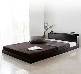 ビックスリー ベッド ベッドフレーム ローベッド フロアベッド 宮棚付き 木製 すのこ モダン 北欧 シングル ブラウン ベッド(グレー色マット付き)