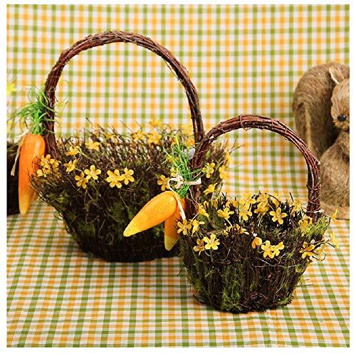 Yosposs en osier Pots de fleurs en rotin Kz3281-w643 faite à la main Panier de fleurs Simulation Plante Pot de fleurs Pot de fleurs en rotin Vase à suspendre Pot de fleurs de jardin en rotin Panier de fleur artificielle Vase à nourriture – Lot de 2