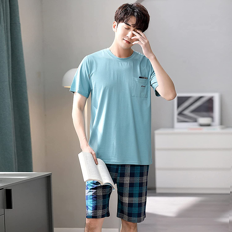 ML S HJDY Mens Sleepwear Pajamas Men Summer Cotton Short-Sleeved Shorts Pajamas Set Thin Section Home Suit,Blue,XL