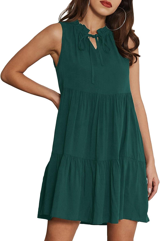 GRACE KARIN Women's Summer Sleeveless Tiered Mini Dresses Casual V Neck Ruffle Swing Flowy Dress
