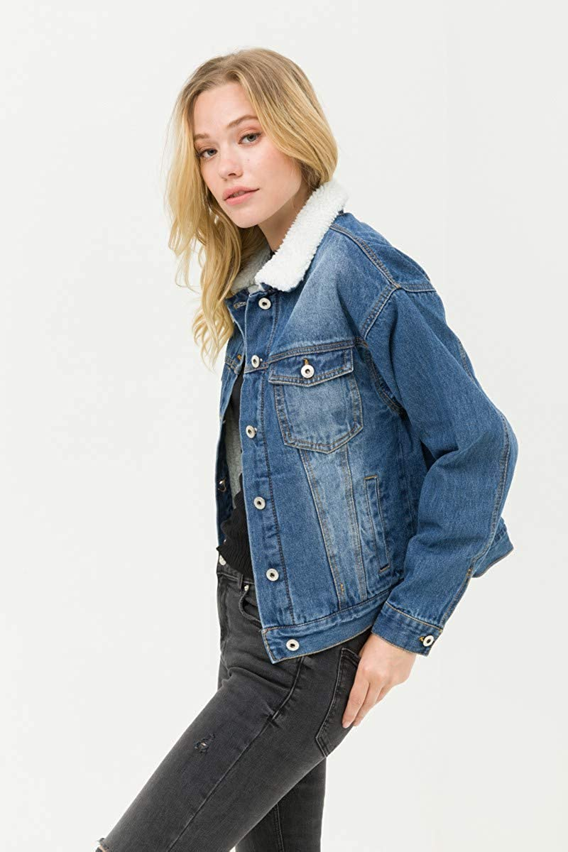 Salt Tree Women's Button Front Washed Out Sherpa Lined Denim Jacket
