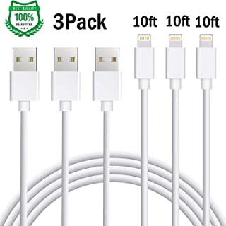 Atill iPhone Charger 3Pack 10FT Lightning Cable Extra Long iPhone Charger Cable Charging Cable Cord Compatible iPhone Xs MAX XR X 8 8 Plus, 7 7 Plus 6 6s 6 Plus 6s Plus SE 5 iPad, iPod and More-white