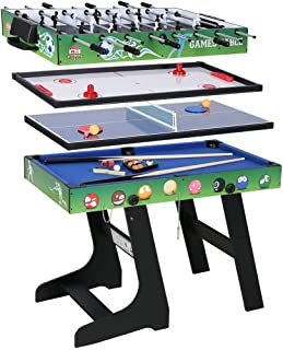 AHHC 4 in 1 Folding Multi Sports Game Table Combo Table, Pool Table, Air Hockey, Mini Table Tennis Table, Foosball Table with Legs, 48 inch