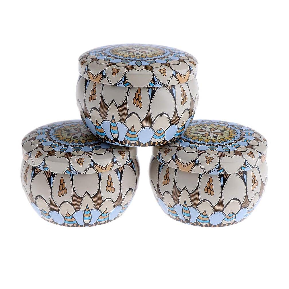 アラーム紳士気取りの、きざな細菌F Fityle 3個 キャンドル缶 DIY お茶 ジャー メタル ポット 化粧品詰替え容器 4タイプ選べ - D