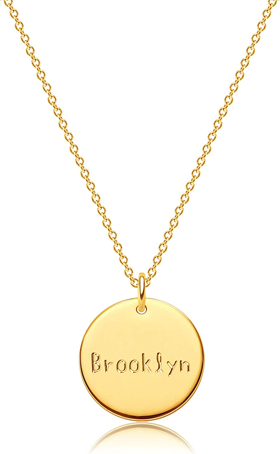 DREMMY STUDIOS Personalized Name Disc Manufacturer regenerated product 18K C Selling Gold Necklace Filled