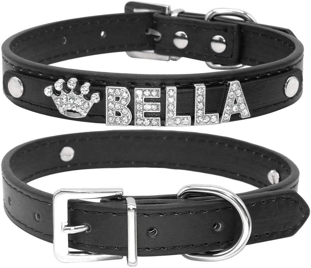 Gulunmun Collar de Gato Personalizado Rhinestone Puppy Small Dogs Collars Personalizado para Chihuahua Yorkshire Name Charms Cat Accessories-Croc Black XS