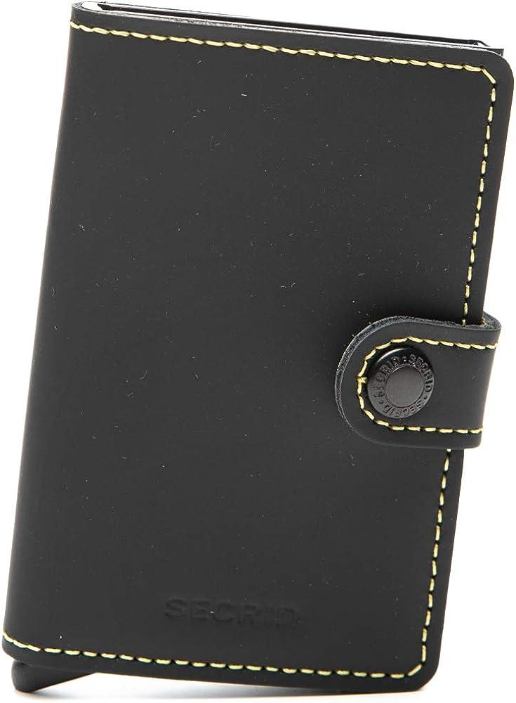 Secrid, miniwallet matte black and yellow, porta carte di credito, portafoglio, in alluminio e pelle MM-Black & Yellow