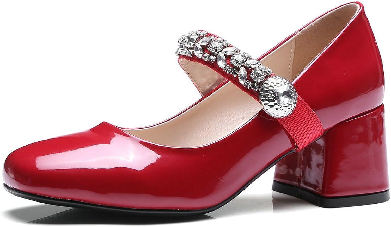 AIWEIYi Women Pumps Square Toe Med Heel Buckle Strap Platform Dress Mary Janes shoes Black