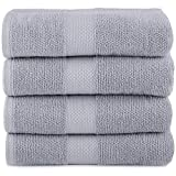Maura Bath Towels Cool Grey 100% Cotton 27'x54' Large with Hanging Loops|High Performance, Absorbent, Soft, Quick Dry for Daily Use. Bath Towels Set for Bathroom, Hotel and Spa Quality.