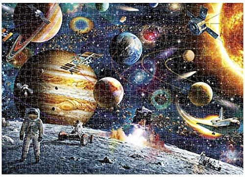 Space Puzzle Rompecabezas de Planetas en el Espacio 1000 Piezas Rompecabezas de cartón,Puzzle Educational Game para Adulto Juguete para aliviar estrés Juego Intelectual Cerebro Desafío Rompecabezas