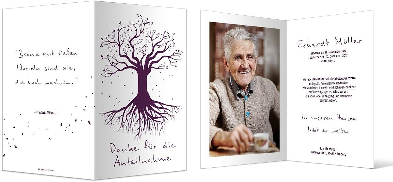 Danksagungskarten Trauer (40 Stück) Stück) Stück) Dankeskarten Individuell Trauerkarten - Weltenbaum B073S5HL4L  | Gute Qualität  cf611d