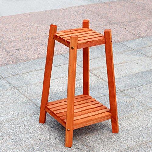 $Etagère d'exposition Support de fleur en bois massif Support de pot de fleur haute Type de plancher multicouche Orange ( Couleur : A )