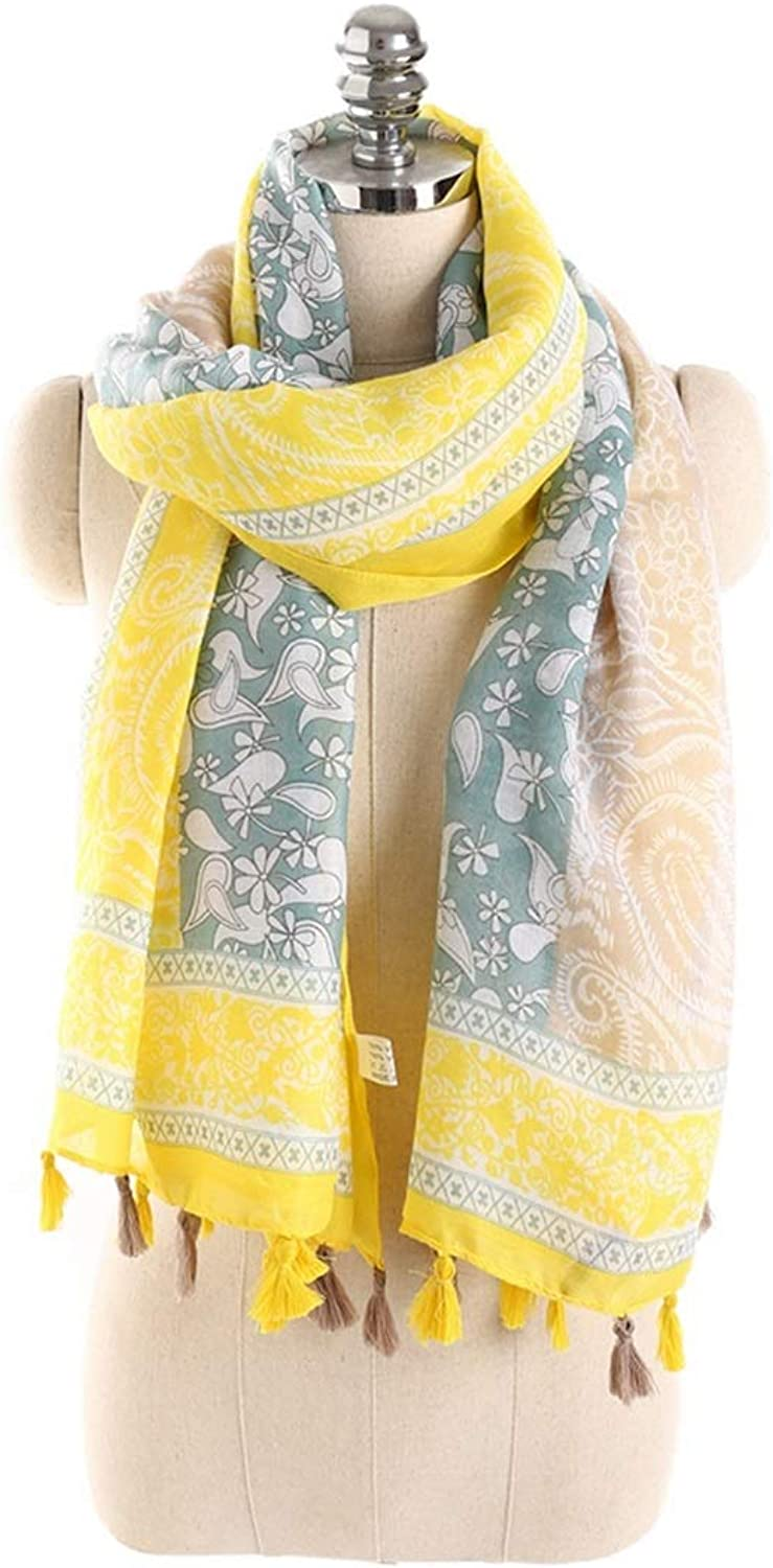 Scarves Spring and Summer Cotton and Linen Fringed Beach Towel Shawl (color   Yellow, Size   180x90CM)
