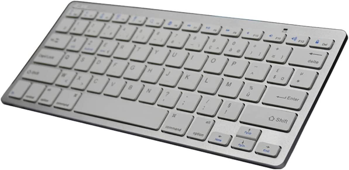 Rosing Azerty French Language Slim Wireless Keyboard Bluetooth 3.0 for Ipad//iPhone//MacBook//Pc Computer//Android Tablet,French Silver