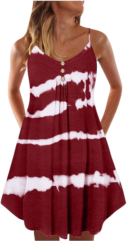 TAYBAGH Dresses for Women, Womens Casual Summer U-Neck Sleeveless Beach Mini Dresses Loose Floral Printed Short Sundress
