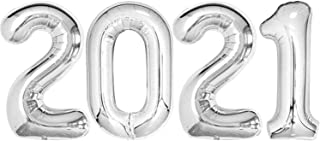 Silver 2021 Balloons for Graduation Decoration - Large, 40 Inch 2021 Number Balloons | Foil Mylar Graduation Balloons 2021...