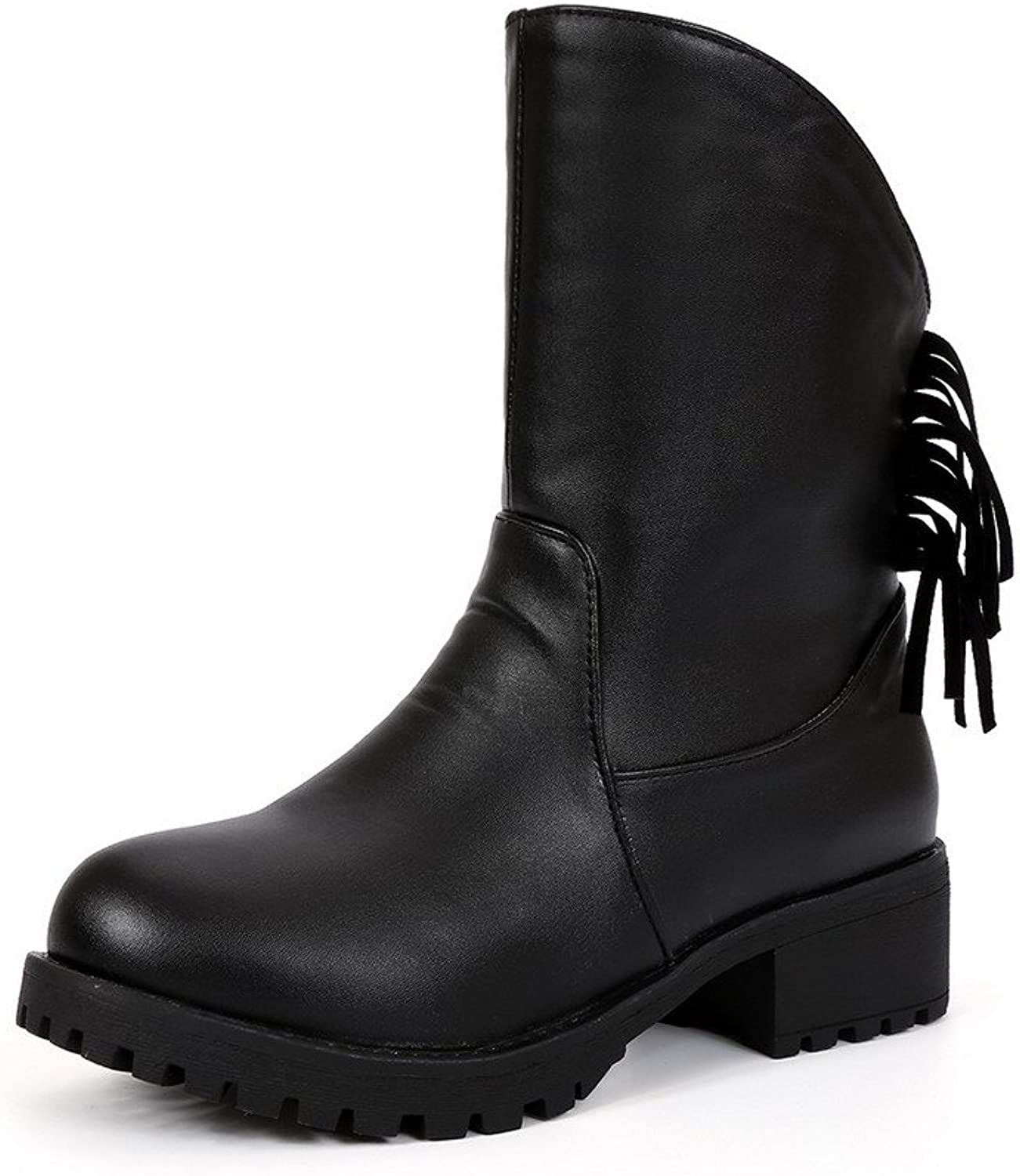 WeenFashion Women's Solid PU Low Heels Pull-On Round Closed Toe Boots