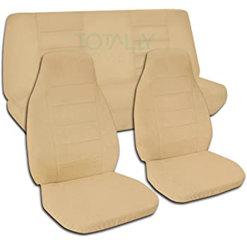 Totally Covers Compatible with 1987-1995 Jeep Wrangler YJ Solid Color Seat Covers: Tan - Full Set: Front & Rear (22 Colors) 2-Door Complete Back Bench