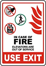 Safety Alert Sticker Decals Safety Sign Vinly Decal in Case of Fire Elevators Out of Service Sign Danger Notice Warning Safe Sticker Lables for Indoor & Outdoor Use Waterproof 6