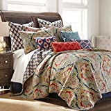 Levtex home - Moreno Quilt Set - Twin Quilt + Two Standard Pillow Shams - Traditional Damask - Red, Blue, Grey, Gold, Teal - Quilt (68x86in.) and Pillow Sham (26x20in.) - Reversible - Cotton
