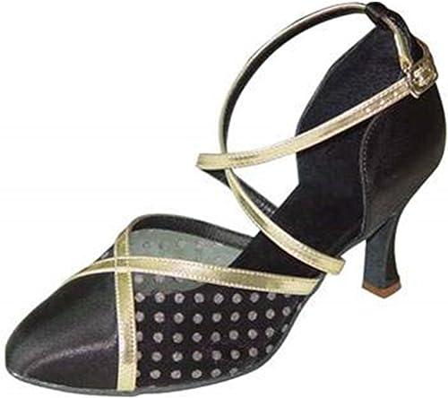 LEIT YFF Cadeaux Femmes Dance Danse Danse Latine Dance Tango Chaussures 7CM,noir,39