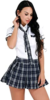 Agoky Sexy Schoolgirl Lingerie Set Japanese Anime Roleplay Outfits Uniform Sets Shirt with Plaid Skirt